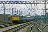 13th Apr84:  87011 'The Black Prince' arriving at Carlisle withe 07.45 Euston Glasgow-