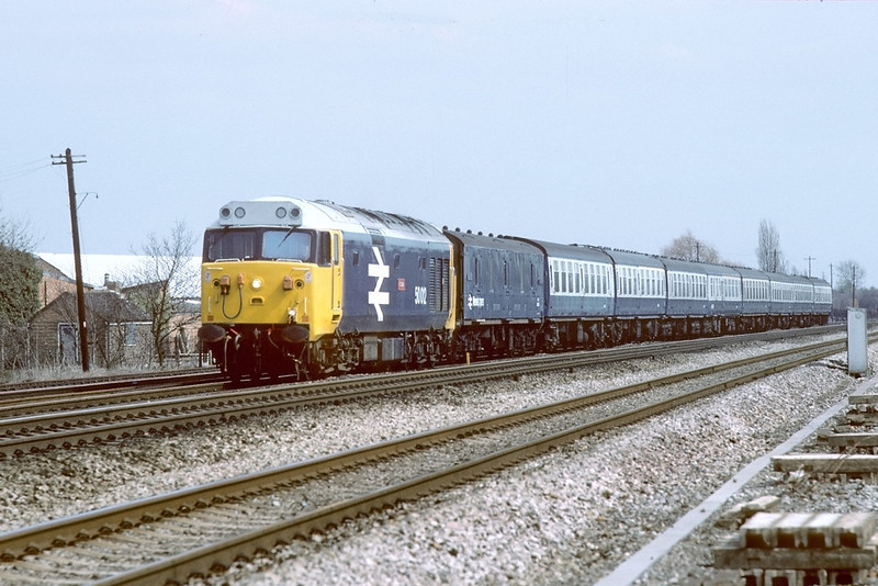 4th Apr 84:  50012 works the 13.01 Paddington to Oxford and is nearing Taplow.