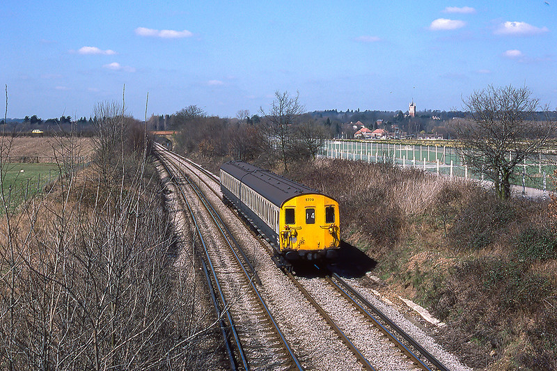 3rd Apr 84: Class 416/2 2EPB No .5779 at Lyne with the 11.52 Staines to Weybridge shuttle.
