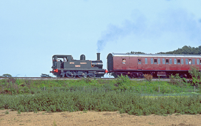 1st Jul 84:  The North London tank 58850 tackles the last few yards to Horsted Keynes sation on a lovely sunny afternoon