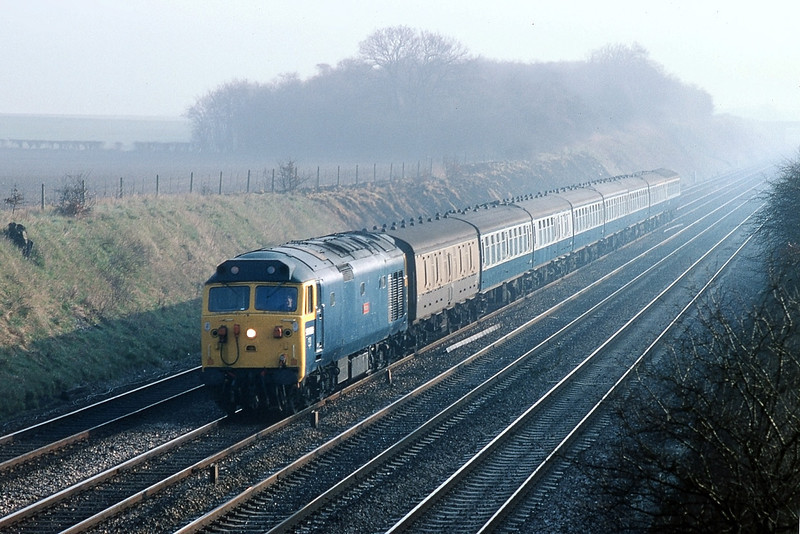 8th Mar 83:  50006 Neptune on the 07.45 Paddington to Oxford at Milley Bridge