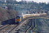 22nd Jan 85:  A Royal Mail Special from Marylebone to Didcot powered by 47500 Great Western passes the site of High Wycombe goods yard