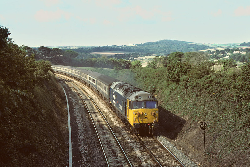 6th Sep 1984:  50031 'Hood' heads the 10.24 Pz to Liverpool near Hayle