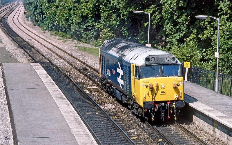 3rd JUly 85:  50026 'Indomitable'  trundles up the Relief Line through Taplow