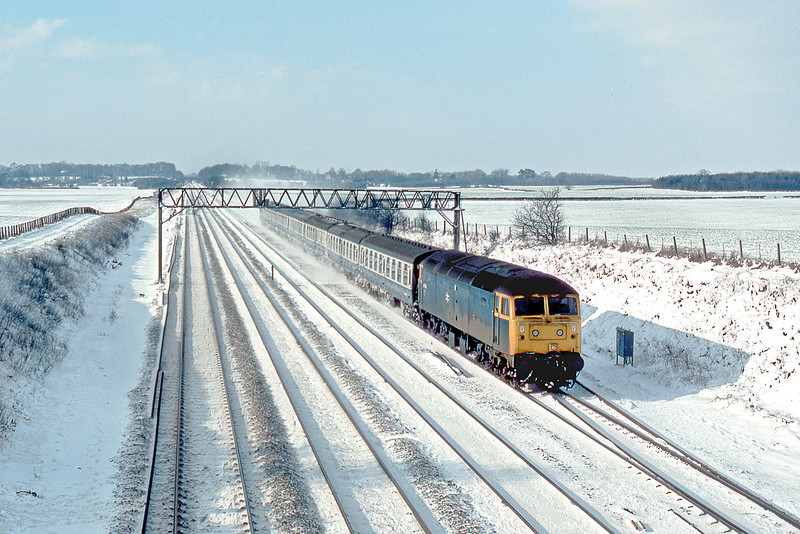 """10th Feb 85:  47606 """"Odin"""" with the 09.50 from Oxford at Milley Bridge.  Nothing more to be said."""