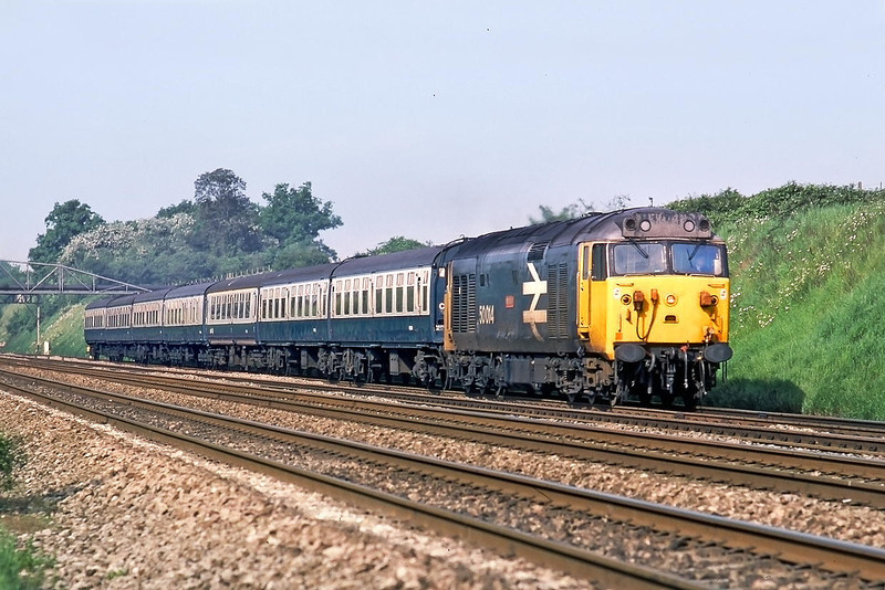 """29th May 85:  On the Up Relief is 50014 """"Warspite"""" on 07.36 from Oxford"""