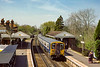 24th Apr 1985:  Starting from Effingham Junction at 11.43 and going to Waterloo 455841 and 455927 are arriving at the first stop in Bookham. They will then make their  way via Leatherhead, Epsom and yhen joining the main line at Raynes Park.