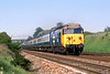 29th May 85:  50023 hammering up the Main at Shottesbroooke on the 08.22 from Newbury
