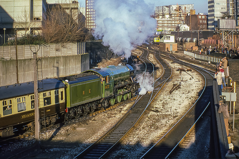 29th Dec 1985:  Leaving the servicing sidings at Marylebone is  4472 (60103) 'Flying Scotsman' as it prepares to take the Shakespeare Express to Stratford on Avon.