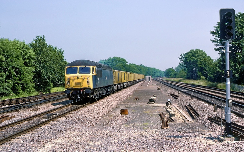3rd July 85:  56039 westbound through Maidenhead with empty ARC boxes