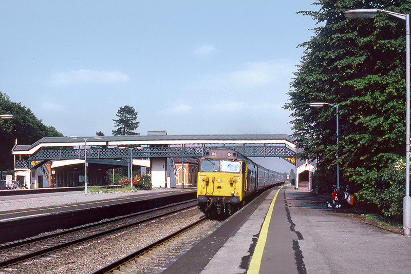 2nd Jul 85: 50014 on the 16.25 to Cheltenham storms west through Taplow.