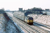 """11th Feb 85:  50039 """"Implacable"""" with a nice rake of Mark 1s heads the 1240 from Oxford and is about to pass the site of Waltham Sidings"""