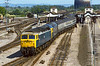 2nd Jun1985:n 47553 & 47573 are leaving  Didcot as they work the 13.32 from Poole to Birmingham New Street