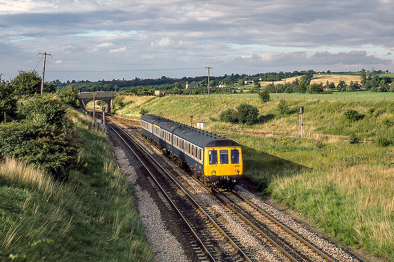 16th Aug 1985:  If only  this view of Hawkeridge Junction looked like this now !It is 6.15pm Unit B541 is passing as it works to Warminster with the 17.20 from Bristol Temple Meads