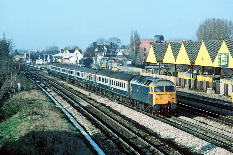 2nd Jan '85:  West Drayrton sees 47544 on the 08.30 from Cheltenham