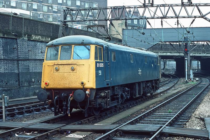 19th May '85:  81005 awaits the call at Euston