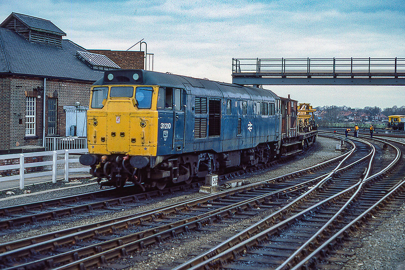 13th Mar 1985:  31210 comes into York Staation with an engineering stock train