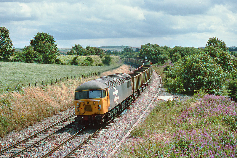 31st Jul 86:  In Railfreight Grey livery 56056 swings round the corner at Wolfhall Junction with ARC boxes bound for Whatley
