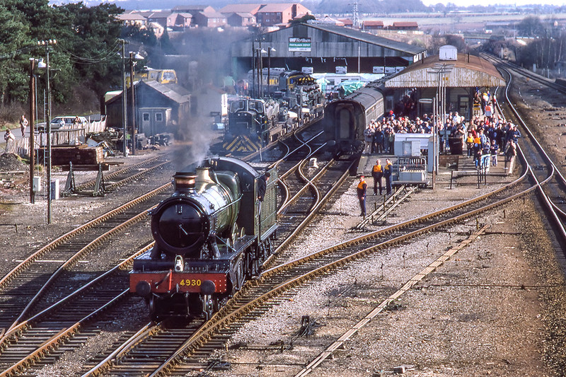 23rd Mar 1986:  4930 'Hagley Hall' is backing down onto the stock at Andover in preparation to make another trip to Lugershall