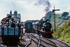 5th Apr 1987:  On a very busy day on the Mid Hants Railway the crowds gather to watch LSWR T9 30120 take water at Ropley.