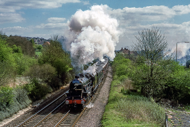 27th Apr 1988:  LMS Black 5   5305 'Alderman A E Draper' is  working the  'Risborough Venturer' through West Wycombe.  The tour was aranged by the  'Risborough & Didtrict Model Railway Club' and was. steam hauled from Marylebone to Tyseley and return.