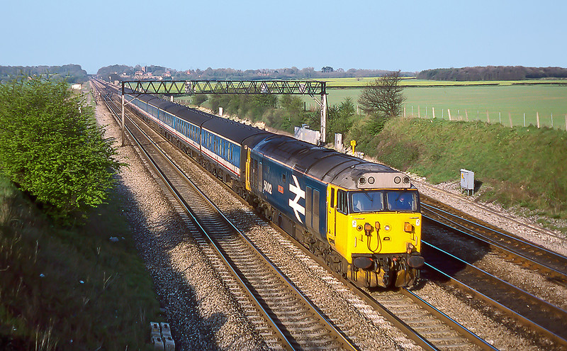 17th Apr 1988:   Working from Oxford to Paddington  is 50012 'Benbow'. approaching Milley Bridge in Waltham St Lawrence