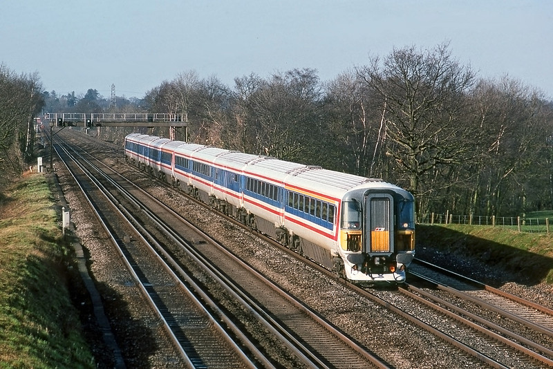 21st Feb 90:  Wessex from Weymouth on the up fast at Totters Lane nr Winchfield