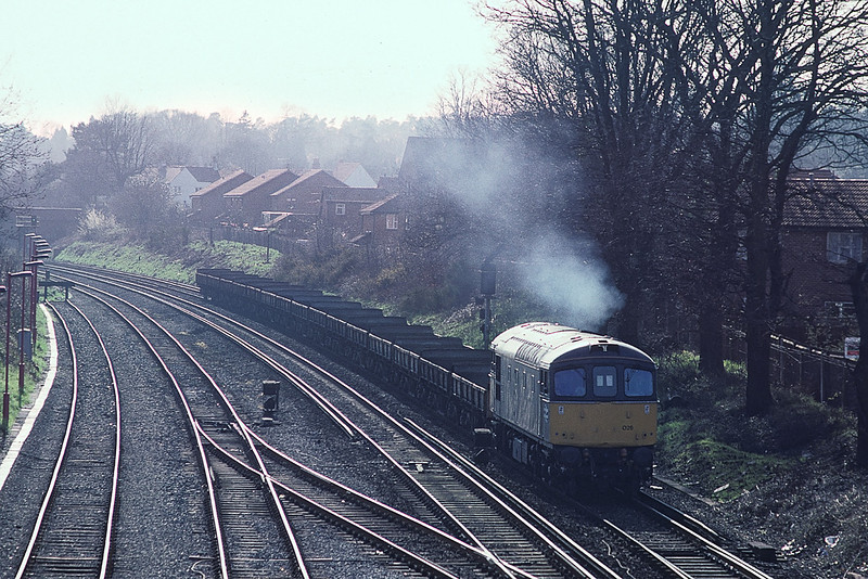 12th Mar 90:  33026 brings engineering wagons into Woking from the Guildford line