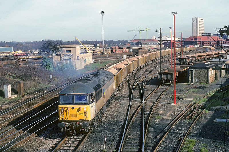 22nd Feb-90:  Having run round 56050 pushes back into the siding