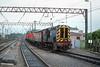 12th May 1989:  08844 brings a rake of wagons north through Carlisle