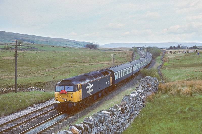 13th May '89: 47431 on the 'Settle and Carlisle Express' charter starts the drop down from Ais Gill