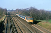 21st Feb 90:  73112 with 2 TC sets provide an interesting livery combination on an Up Weymouth slow at Totters Lane