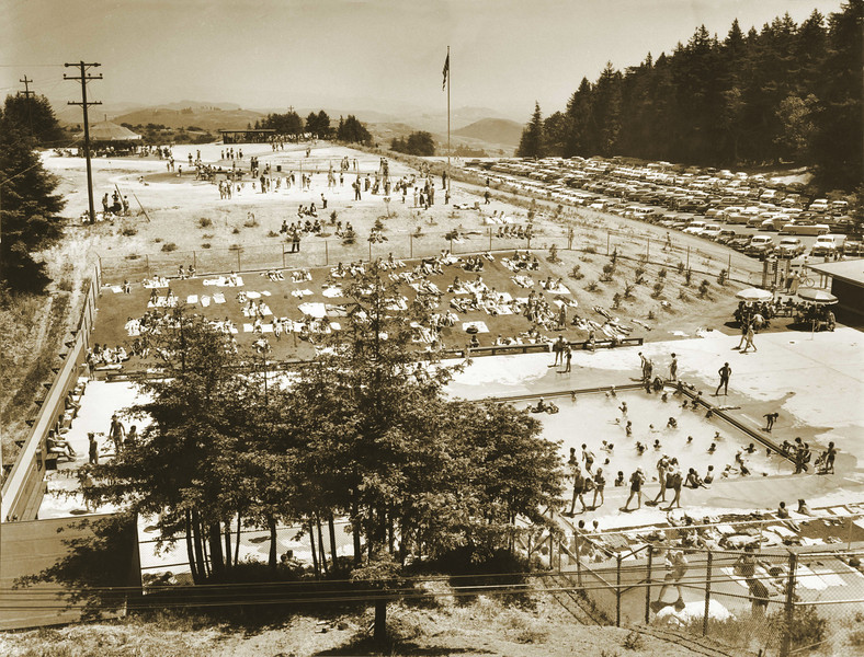 Then: The opening-day view of Roberts Regional Park in Oakland shows the pool, lawn, merry-go-round and pony ride. The park was named in honor of Tommy Roberts, a labor leader and charter member of the Park District board who served from 1934 until his death in 1958 at age 95.