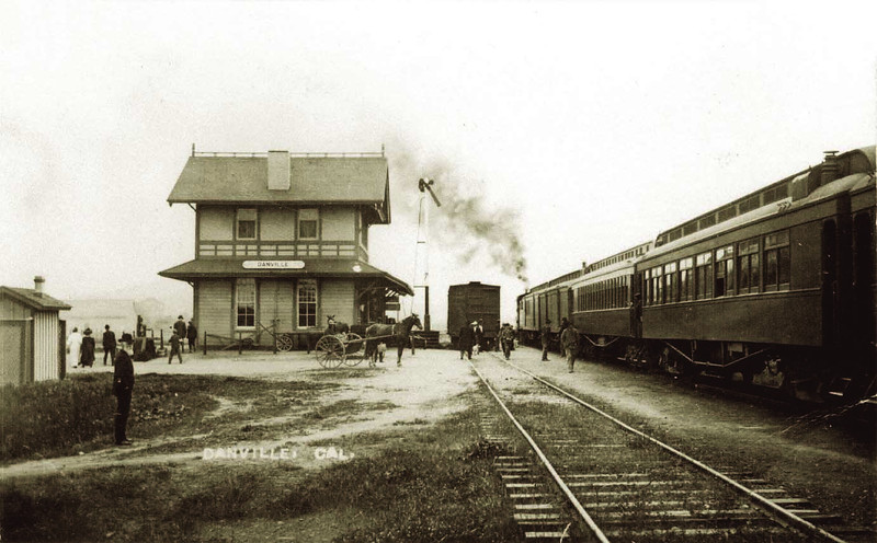 Then: From 1890 to the mid-1970s, trains of the Southern Pacific Railroad chugged through the Diablo and San Ramon valleys from Suisun Bay to Pleasanton, serving the farming communities along the way. The photo shows the Danville depot in 1895.