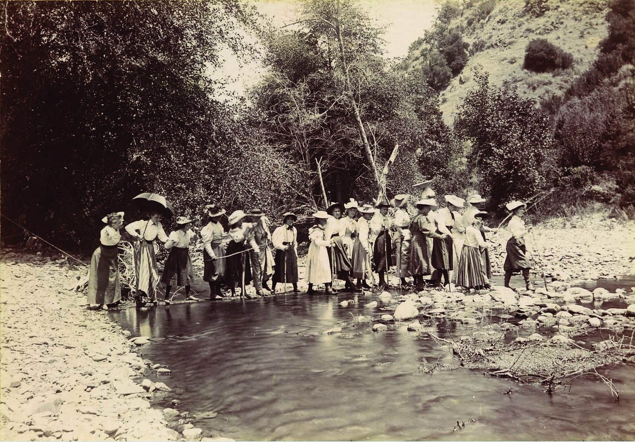 Then: Alameda Creek being explored by a group of 19th century lady adventurers in the photo above, is the county's largest waterway. During its history, the nearby land has seen agriculture, quarrying, and now commercial and residential uses.