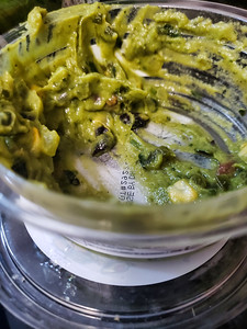 Guacamole dish after a party used.