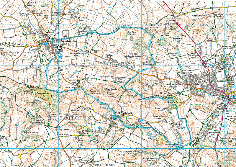 We walked clockwise round the route shown in blue