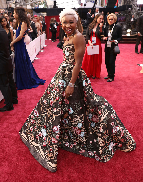 . Cynthia Erivo arrives at the Oscars on Sunday, Feb. 26, 2017, at the Dolby Theatre in Los Angeles. (Photo by Matt Sayles/Invision/AP)
