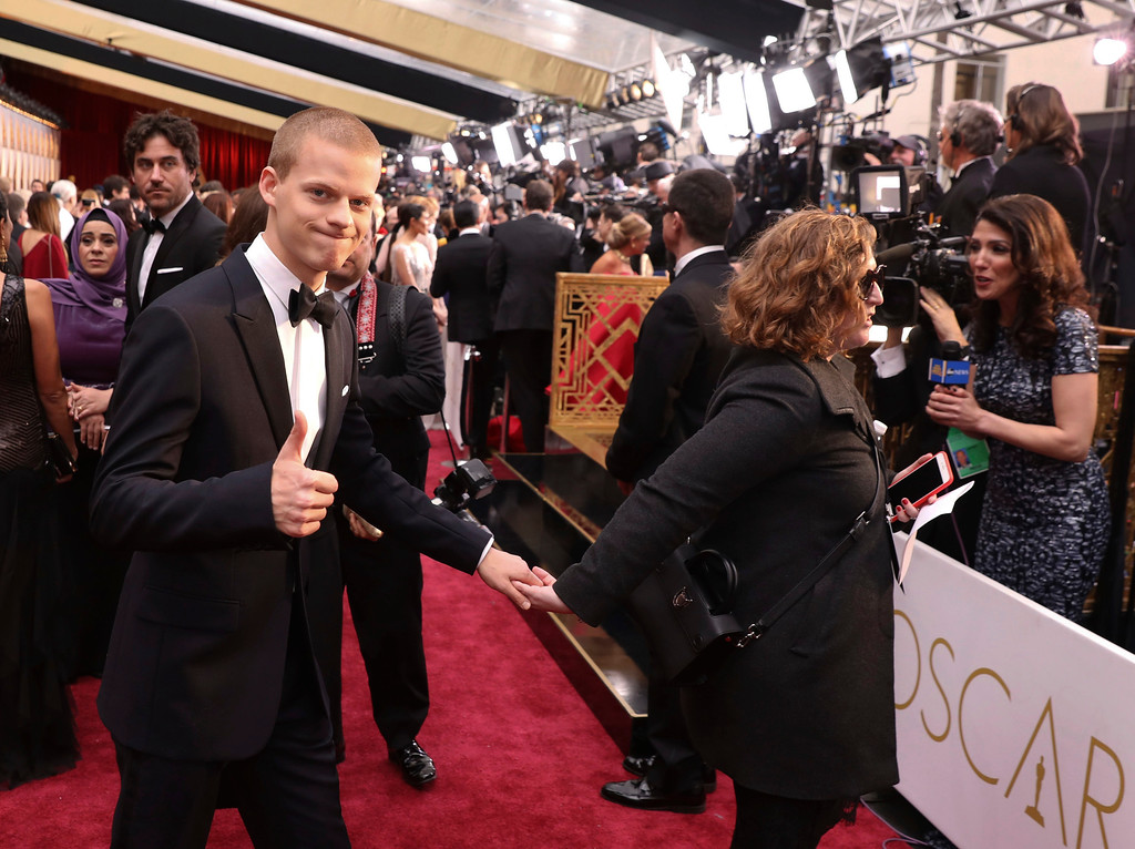 . Lucas Hedges arrives at the Oscars on Sunday, Feb. 26, 2017, at the Dolby Theatre in Los Angeles. (Photo by Matt Sayles/Invision/AP)