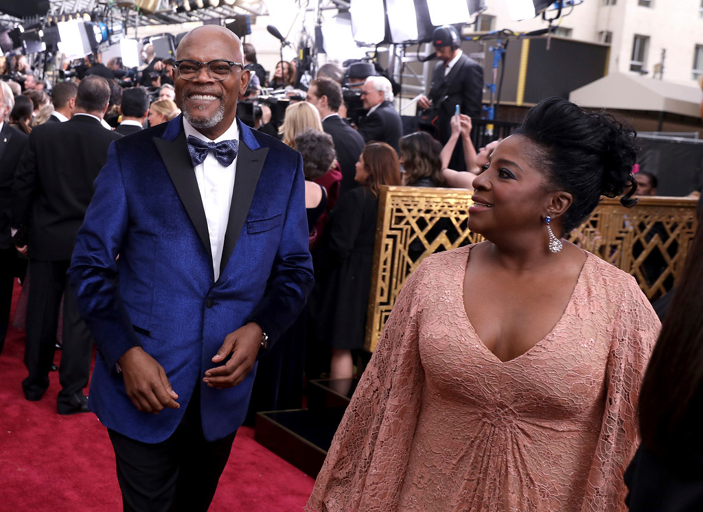 . Samuel L. Jackson, left, and LaTanya Richardson arrive at the Oscars on Sunday, Feb. 26, 2017, at the Dolby Theatre in Los Angeles. (Photo by Matt Sayles/Invision/AP)