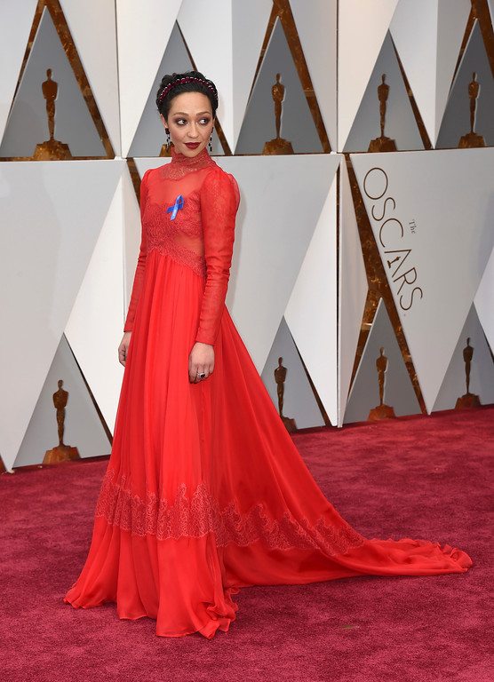 . Ruth Negga arrives at the Oscars on Sunday, Feb. 26, 2017, at the Dolby Theatre in Los Angeles. (Photo by Jordan Strauss/Invision/AP)