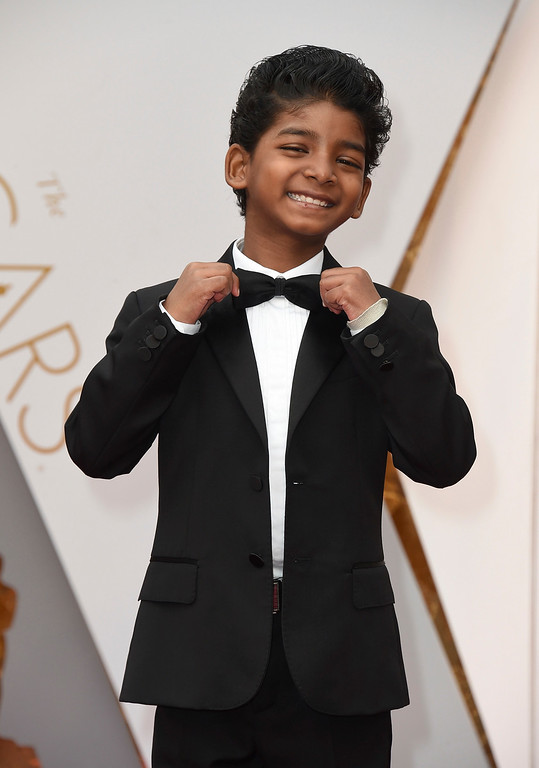 . Sunny Pawar arrives at the Oscars on Sunday, Feb. 26, 2017, at the Dolby Theatre in Los Angeles. (Photo by Jordan Strauss/Invision/AP)