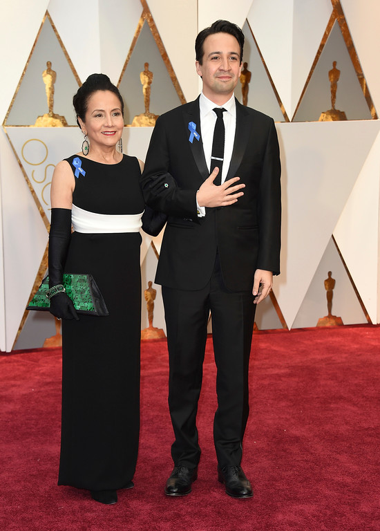 . Luz Towns-Miranda, left, and Lin-Manuel Miranda arrive at the Oscars on Sunday, Feb. 26, 2017, at the Dolby Theatre in Los Angeles. (Photo by Jordan Strauss/Invision/AP)