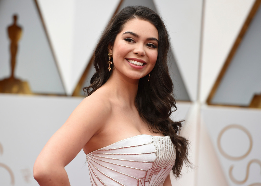 . Auli\'i Cravalho arrives at the Oscars on Sunday, Feb. 26, 2017, at the Dolby Theatre in Los Angeles. (Photo by Richard Shotwell/Invision/AP)