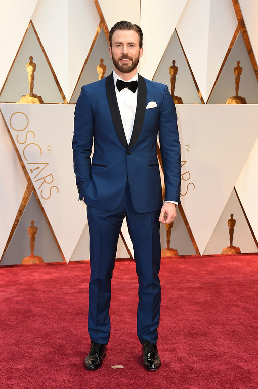 . Chris Evans arrives at the Oscars on Sunday, Feb. 26, 2017, at the Dolby Theatre in Los Angeles. (Photo by Jordan Strauss/Invision/AP)