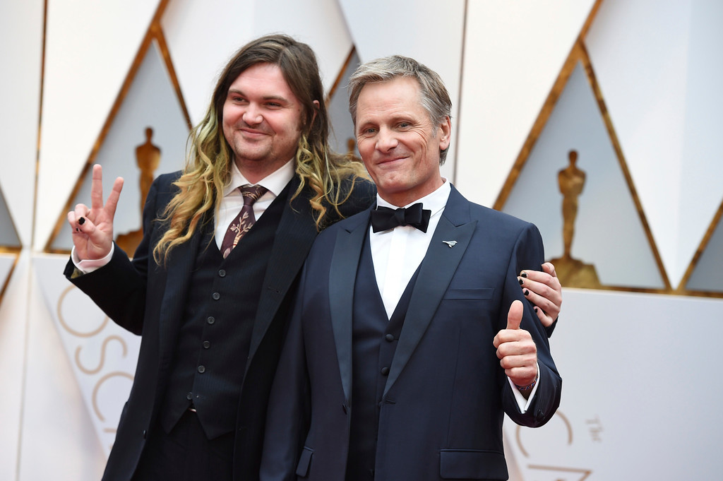 . Henry Mortensen, left, and Viggo Mortensen arrive at the Oscars on Sunday, Feb. 26, 2017, at the Dolby Theatre in Los Angeles. (Photo by Jordan Strauss/Invision/AP)