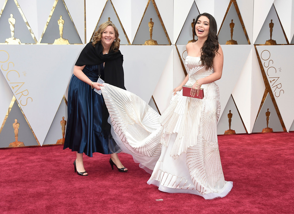 . Auli\'i Cravalho arrives at the Oscars on Sunday, Feb. 26, 2017, at the Dolby Theatre in Los Angeles. (Photo by Jordan Strauss/Invision/AP)