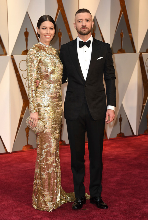. Jessica Biel, left, and Justin Timberlake arrive at the Oscars on Sunday, Feb. 26, 2017, at the Dolby Theatre in Los Angeles. (Photo by Jordan Strauss/Invision/AP)