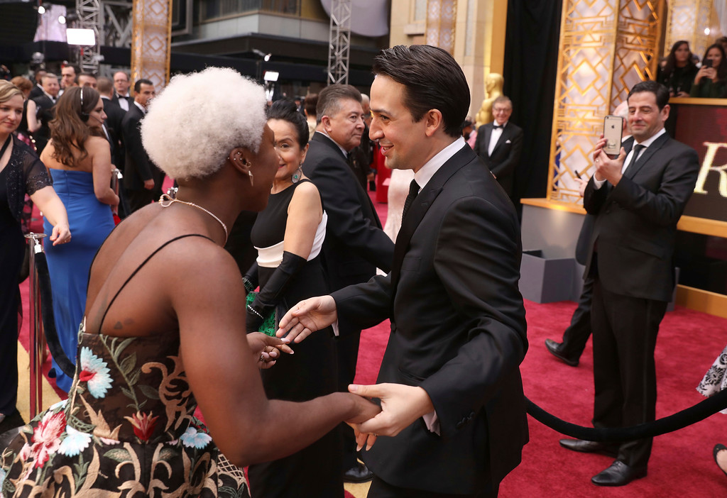 . Cynthia Erivo, left, and Lin-Manuel Miranda arrive at the Oscars on Sunday, Feb. 26, 2017, at the Dolby Theatre in Los Angeles. (Photo by Matt Sayles/Invision/AP)