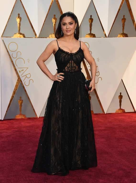 . Salma Hayek arrives at the Oscars on Sunday, Feb. 26, 2017, at the Dolby Theatre in Los Angeles. (Photo by Jordan Strauss/Invision/AP)